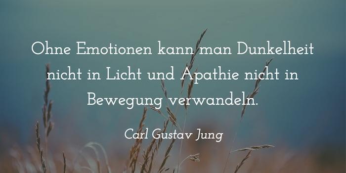 Ohne Emotionen kann man Dunkelheit nicht in Licht und Apathie nicht in Bewegung verwandeln. Carl Gustav Jung